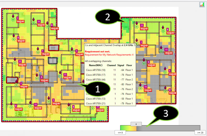 Viewing channel overlap in Ekahau Site Survey