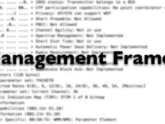 Management Frames title on blurred Wireshark capture.