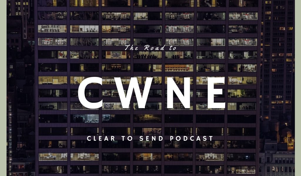 CWNE title with an office building in the background.